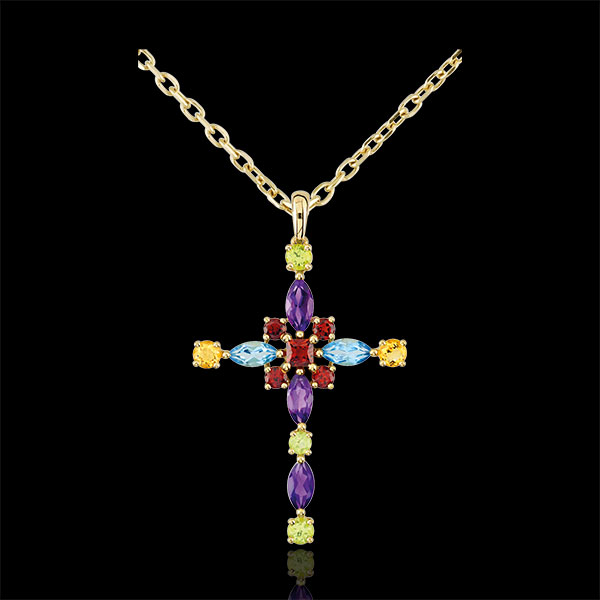 Colgante cruz Bizantina multicolores - oro amarillo 9 quilates