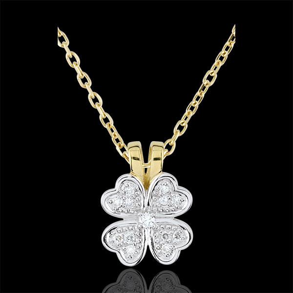 Colgante Eclosión - Tierno Trébol - diamantes - oro blanco y oro amarillo 9 quilates