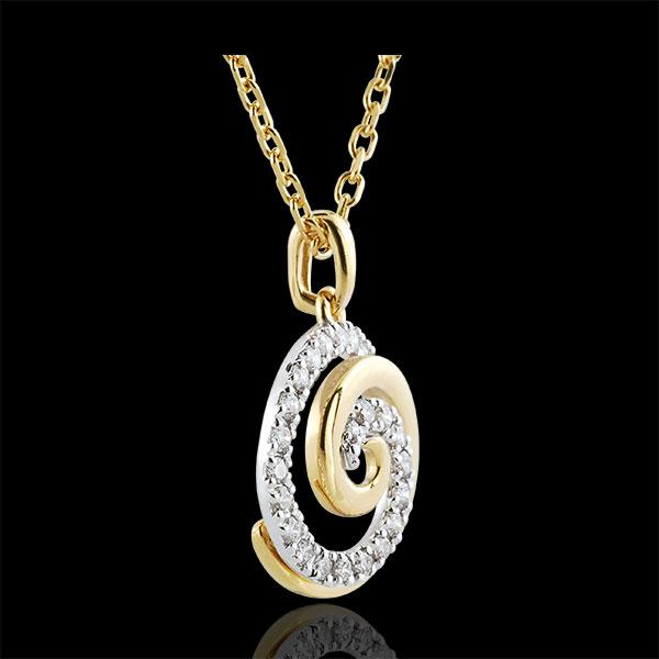 Colgante Espiral de Amor - oro blanco y oro amarillo 9 quilates y diamantes