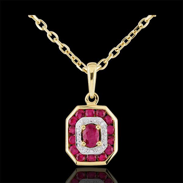 Colgante Oroiade - oro blanco 9 quilates y rubíes