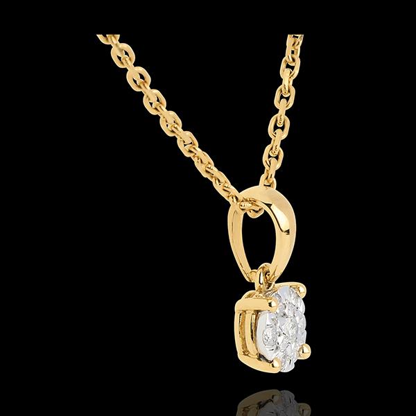 Colgante rosetón y campanita oro amarillo - 0.2 quilates - 7 diamantes