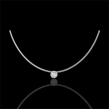 Colier cablu aur alb de 18K diamant