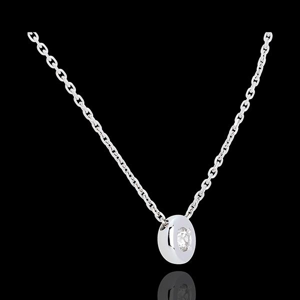Colier Caliciu cu diamant - aur alb de 18K