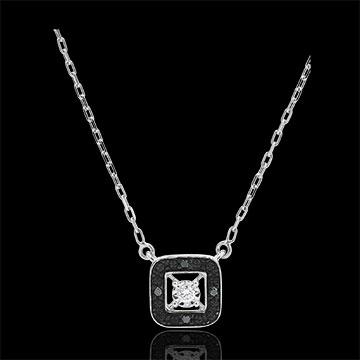 Colier diamant negru Clar Obscur - aur alb de 9K - 1 0.03 carate