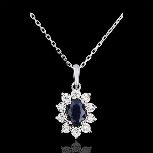 Colier Eternel Edelweiss - Iluzia Anemonei - safire şi diamante - aur alb de 18K