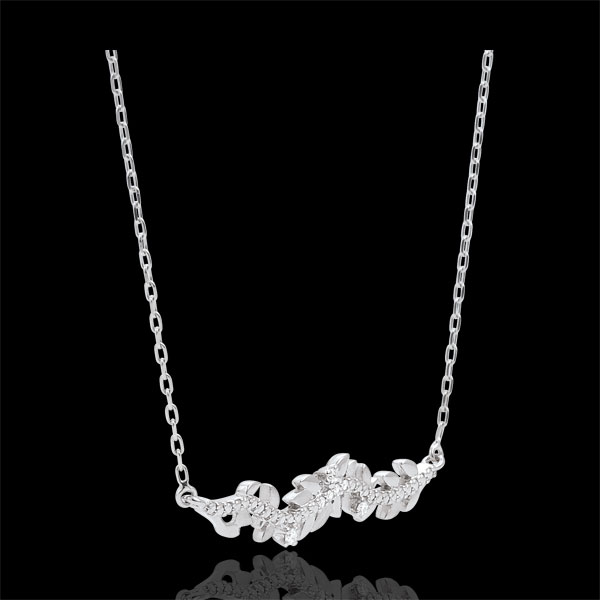 Colier Grădină Fermecată - Frunziş Regal - aur alb de 18K şi diamante