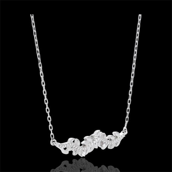 Colier Grădină Fermecată - Frunziş Regal - aur alb de 9K şi diamante