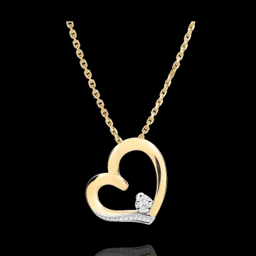 Colier inimă Amour-Amour - aur alb şi aur galben de 18K