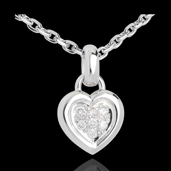 Colier inimă din aur alb de 18K pavat - 0.12 carate - 7 diamante