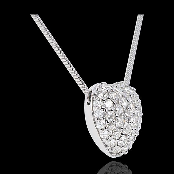 Colier inimă din aur alb de 18K pavat - 0.85 carate - 50 de diamante