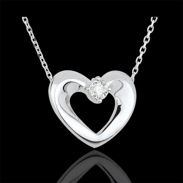 Colier inimă drăguţă aur alb de 9K şi diamant - 45 cm