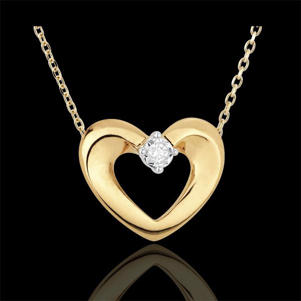 Colier inimă drăguţă aur galben de 18K şi diamant