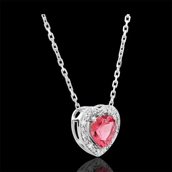 Colier Inimă Fermecată - turmalin roz - aur alb de 18K