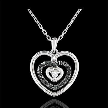 Colier Inimă Orma aur alb de 9K şi diamante negre