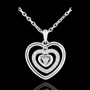 Colier Inimă Orma aur alb de 9K