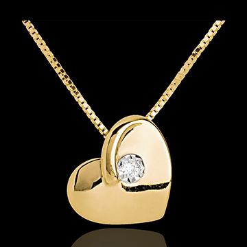 Colier inimă pătimaşă aur galben de 18K diamante