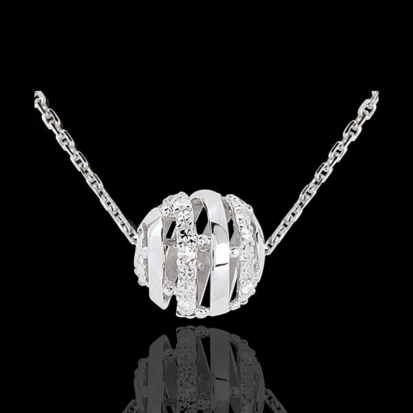 Colier Iubirea Ferecată din aur alb de 18K - 11 diamante