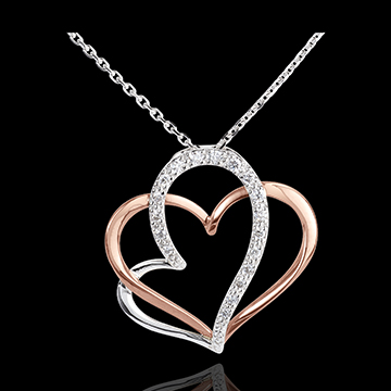 Colier Iubita Mea - aur alb şi aur roz de 18K şi diamante