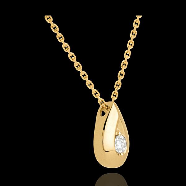 Colier lacrimă aur galben de 9K diamant