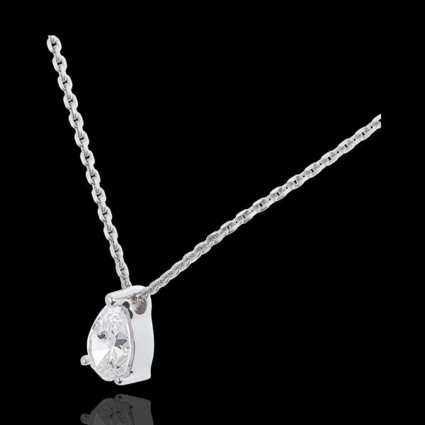 Colier Lacrimă diamant - aur alb de 18K - 1 carat