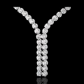 Colier Legătură diamante - 2.4 carate - 76 diamante - aur alb de 18K