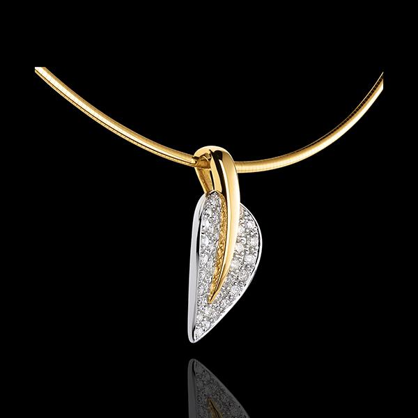 Colier pandantiv Frunza vieţii - aur alb şi aur galben de 18K