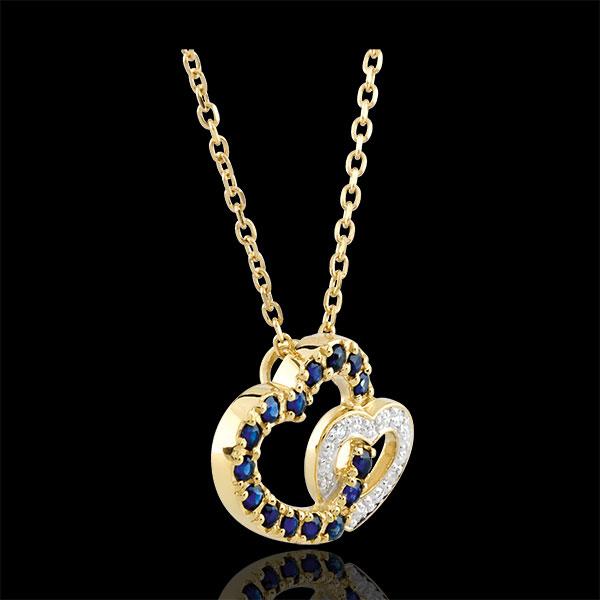 Colier Pereche de Inimi - safire şi diamante - aur alb şi aur galben de 9K