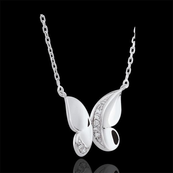 Colier Plimbare Imaginară - Fluture Cascadă - aur alb de 9K