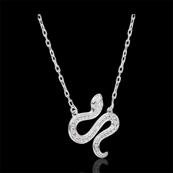 Colier Plimbare Imaginară - Şarpe Ademenitor - aur alb de 9K şi diamante