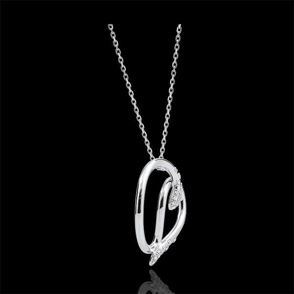 Colier Plimbare Imaginară - Şarpele Iubirii - aur alb de 9K şi diamante