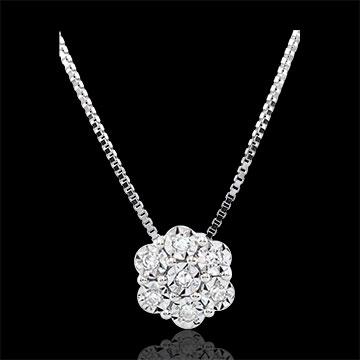 Colier Prospeţime - Mănunchi de Fulgi - 7 diamante şi aur alb de 9K