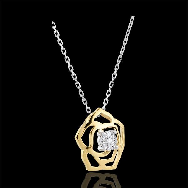 Colier Prospeţime - Trandafir Absolut - aur alb şi aur galben de 18K