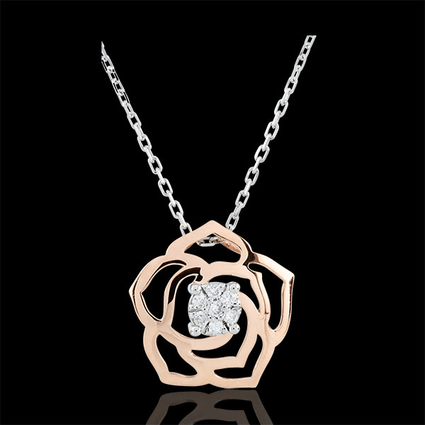 Colier Prospeţime - Trandafir Absolut - aur alb şi aur roz de 18K