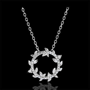 Colier rotund Grădină Fermecată - Frunziş Regal - aur alb de 18K şi diamante