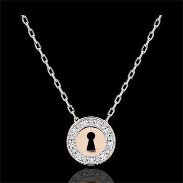 Colier Secret Preţios - aur alb şi aur roz de 9K şi diamante