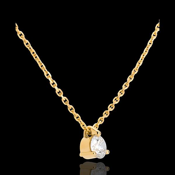 Colier solitaire aur galben de 18K - 0.26 carate