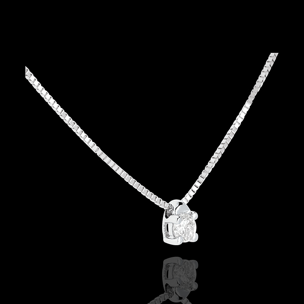 Colier solitaire din aur alb de 18K - 0.07 carate