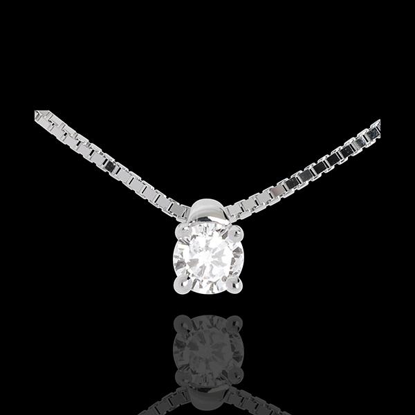 Colier solitaire din aur alb de 18K - 0.16 carate