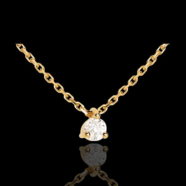 Colier solitaire din aur galben de 18K - 0.11 carate