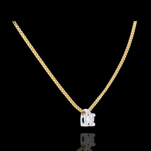 Colier solitaire din aur galben de 18K - 0.16 carate