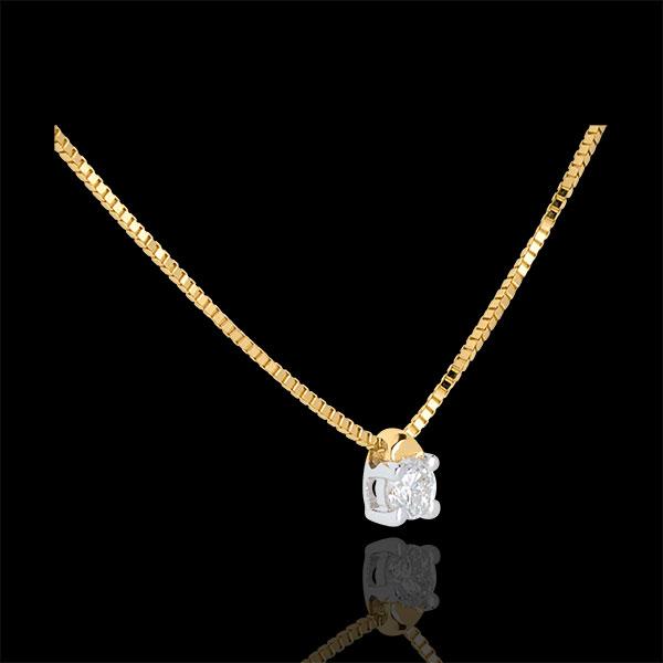 Colier solitaire din aur galben de 9K - 0.07 carate - 45cm