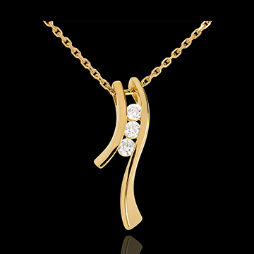 Colier Trilogie Cuib Preţios - Siluetă - aur galben de 18K - 3 diamante