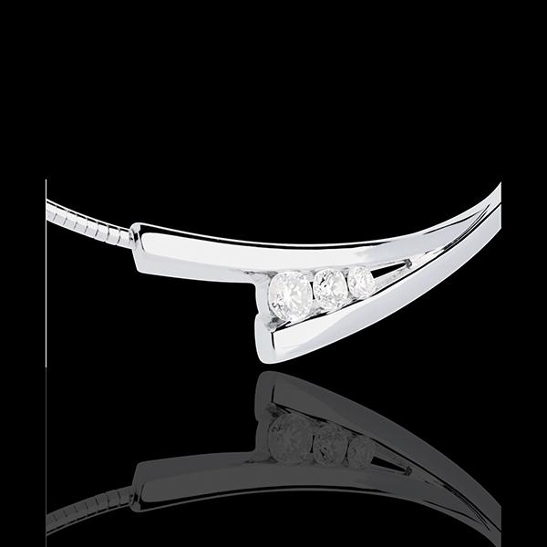 Colier Trilogie Cuib Preţios - Spic - aur alb de 18K - 0.21 carate - 3 diamante