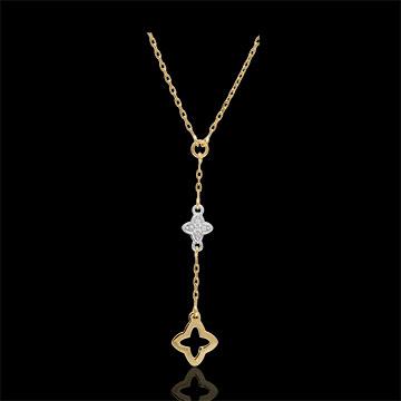 Collana Augusta - Oro bianco e Oro giallo - 9 carati - 1 Diamante