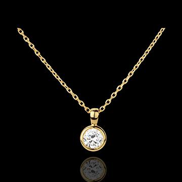 Collana Bambolina Solitario - Oro giallo - 18 carati - Diamante - 0.51 carati