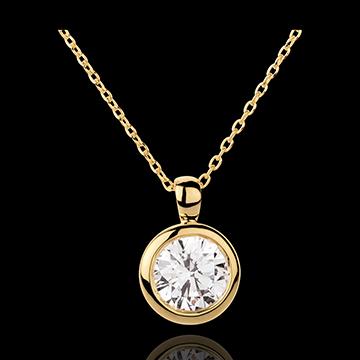 Collana Bambolina Solitario - Oro giallo - 18 carati - Diamante - 2 carati