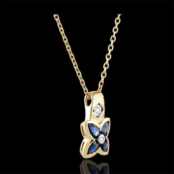Collana Bella stella - Oro giallo - 9 carati - 2 Diamanti - 4 Zaffiri - 0.85 carati