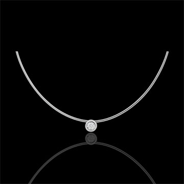Collana Cable punto luce diamante - Oro bianco - 18 carati - Diamante - 0.08 carati