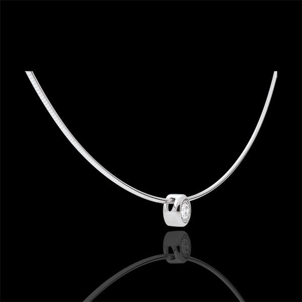 Collana Cable punto luce diamante - Oro bianco - 18 carati - Diamante - 0.18 carati
