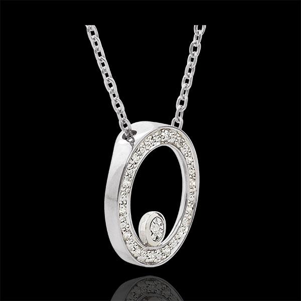 Collana Cerchio d'eleganza - Oro Bianco - 9 carati - 15 Diamanti